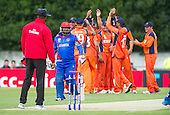 ICC World T20 Qualifier - GROUP B MATCH - NETHERLANDS V AFGHANISTAN at Grange CC, Edinburgh - Netherlands celebrate as Afghanistan bat Mohammad Shazad departs for 2 — credit @ICC/Donald MacLeod - 09.07.15 - 07702 319 738 -clanmacleod@btinternet.com - www.donald-macleod.com
