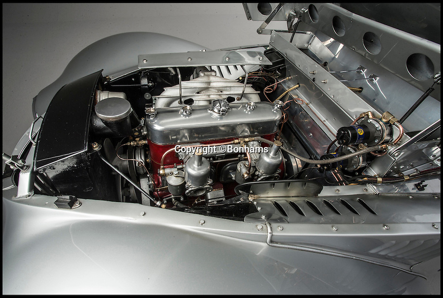 BNPS.co.uk (01202 558833)<br /> Pic: Bonhams/BNPS<br /> <br /> ***Please use full byline***<br /> <br /> 2 litre twin carb 90 hp 4cyl engine - powerful for the time.<br /> <br /> A one-of-a-kind concept car made by famous British brand Aston Martin during World War II is expected to fetch a whopping £1 million  when it goes under the hammer in a Bonhams auction at Goodwood Festival of Speed on June 27. .<br /> <br /> The stunning Aston Martin Atom is regarded as one of the most important cars in the history of British motoring.<br /> <br /> The 74-year-old motor is considered to be Britain's first ever concept car, showcasing a design and engineering that was way ahead of its time.<br /> <br /> It was unveiled in 1940 when the country was in the thick of war, launching just six weeks after the infamous evacuation of Dunkirk.<br /> <br /> The futuristic car was one of only 750 private cars registered in the UK that year at a time when any spare metal was being melted down to fuel the war effort.<br /> <br /> It has been put up for sale by classic car collector Tom Rollason who previously displayed it at the Heritage Motor Centre in Gaydon, Warks.