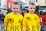 Twins Luke and Daniel McCann at the Lion & Dragon Ritual for the Chinese New Year celebrations in the square in Tralee on Saturday.