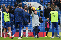 Chelsea Assistant Head Coach, Gianfranco Zola, holds the ball aloft, as he gathers the players together to start their pre-match warm up during Chelsea vs Huddersfield Town, Premier League Football at Stamford Bridge on 2nd February 2019