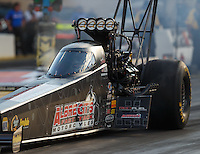 Jul 8, 2016; Joliet, IL, USA; NHRA top fuel driver Leah Pritchett during qualifying for the Route 66 Nationals at Route 66 Raceway. Mandatory Credit: Mark J. Rebilas-USA TODAY Sports