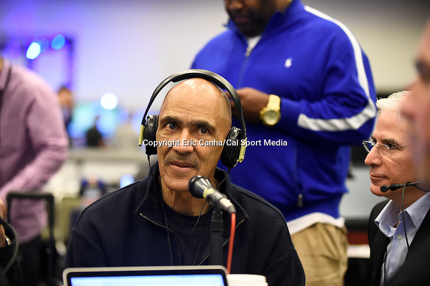 Friday, February 5, 2016: Former NFL player and head coach Tony Dungy is interviewed for a radio program at the Moscone Center in San Francisco, California during the National Football League week long opening celebrations for Super Bowl 50 between the Carolina Panthers and the Denver Broncos . Eric Canha/CSM