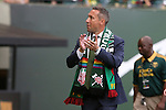 20 June 2015: Portland head coach Caleb Porter applauds the fans. The Portland Timbers FC hosted the Houston Dynamo at Providence Park in Portland, Oregon in a Major League Soccer 2015 regular season match. Portland won the game 2-0.