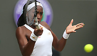 Cori Gauff (USA) during her match against Simona Halep (ROU) in their Ladies' Singles Fourth Round match<br /> <br /> Photographer Rob Newell/CameraSport<br /> <br /> Wimbledon Lawn Tennis Championships - Day 7 - Monday 8th July 2019 -  All England Lawn Tennis and Croquet Club - Wimbledon - London - England<br /> <br /> World Copyright © 2019 CameraSport. All rights reserved. 43 Linden Ave. Countesthorpe. Leicester. England. LE8 5PG - Tel: +44 (0) 116 277 4147 - admin@camerasport.com - www.camerasport.com