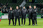 10.02.2019, Weserstadion, Bremen, GER, 1.FBL, Werder Bremen vs FC Augsburg<br /> <br /> DFL REGULATIONS PROHIBIT ANY USE OF PHOTOGRAPHS AS IMAGE SEQUENCES AND/OR QUASI-VIDEO.<br /> <br /> im Bild / picture shows<br /> Trainerteam, Prof. Dr. Andreas Marlovits (Sportpsychologe Werder Bremen), Thomas Horsch (Co-Trainer SV Werder Bremen), Christian Vander (Torwart-Trainer SV Werder Bremen), Tim Borowski (Co-Trainer SV Werder Bremen), Florian Kohfeldt (Trainer SV Werder Bremen) nach Spielende, <br /> <br /> Foto &copy; nordphoto / Ewert