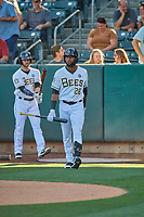 Jo Adell (26) of the Salt Lake Bees comes to the plate against the El Paso Chihuahuas at Smith's Ballpark on August 17, 2019 in Salt Lake City, Utah. The Bees defeated the Chihuahuas 5-4. (Stephen Smith/Four Seam Images)