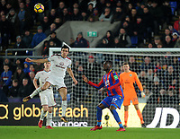 Burnley's Jack Cork vies for possession with Crystal Palace's Christian Benteke<br /> <br /> Photographer Ashley Crowden/CameraSport<br /> <br /> The Premier League - Crystal Palace v Burnley - Saturday 13th January 2018 - Selhurst Park - London<br /> <br /> World Copyright &copy; 2018 CameraSport. All rights reserved. 43 Linden Ave. Countesthorpe. Leicester. England. LE8 5PG - Tel: +44 (0) 116 277 4147 - admin@camerasport.com - www.camerasport.com