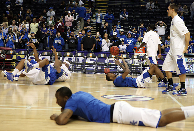 Players warm up before UK's win 75-74 over Mississippi State  Bridgestone Arena in the SEC Finals on Sunday, March 14, 2010. Photo by Britney McIntosh | Staff