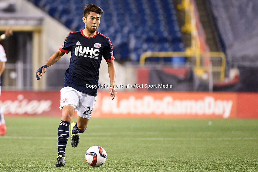 June 13, 2015 - Foxborough, Massachusetts, U.S. - New England Revolution midfielder Lee Nguyen (24) in game action  during the MLS game between Chicago Fire and the New England Revolution held at Gillette Stadium in Foxborough Massachusetts. The Revolution defeated the Fire 2-0. Eric Canha/CSM