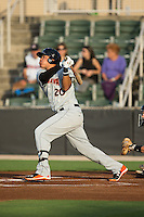 Jomar Reyes (20) of the Delmarva Shorebirds follows through on his swing against the Kannapolis Intimidators at CMC-Northeast Stadium on June 4, 2015 in Kannapolis, North Carolina.  The Shorebirds defeated the Intimidators 8-2.  (Brian Westerholt/Four Seam Images)