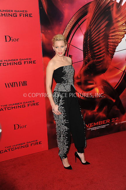WWW.ACEPIXS.COM<br /> November 20, 2013...New York City<br /> <br /> Elizabeth Banks attending a premiere of 'The Hunger Games: Catching Fire' on November 20, 2013 in New York City.<br /> <br /> Byline: Kristin Callahan/Ace Pictures<br /> <br /> ACE Pictures, Inc.<br /> tel: 646 769 0430<br />       212 243 8787<br /> e-mail: info@acepixs.com<br /> web: http://www.acepixs.com