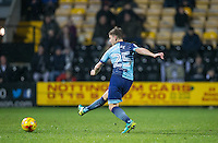 Dominic Gape of Wycombe Wanderers hits a shot at goal during the Sky Bet League 2 match between Notts County and Wycombe Wanderers at Meadow Lane, Nottingham, England on 10 December 2016. Photo by Andy Rowland.