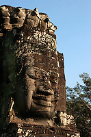 Bayon Lokesvara- The Bayon's most distinctive feature is the series of serene, massive faces on the towers on its upper terrace,  Each facial expression is different and appears to have its own personality.