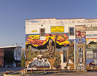 Mural, featuring famous World War II war correspondent Ernie Pyle, on exterior of building in Dana, Indiana. Dana Indiana.