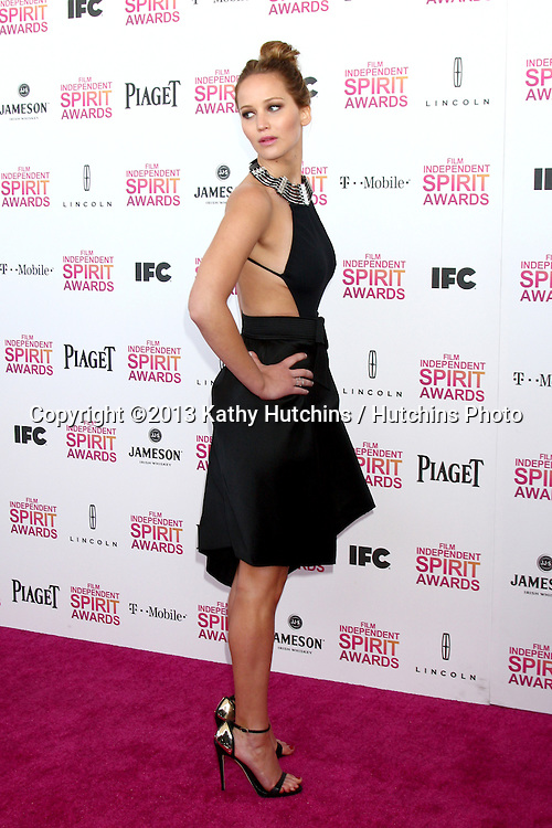 LOS ANGELES - FEB 23:  Jennifer Lawrence attends the 2013 Film Independent Spirit Awards at the Tent on the Beach on February 23, 2013 in Santa Monica, CA