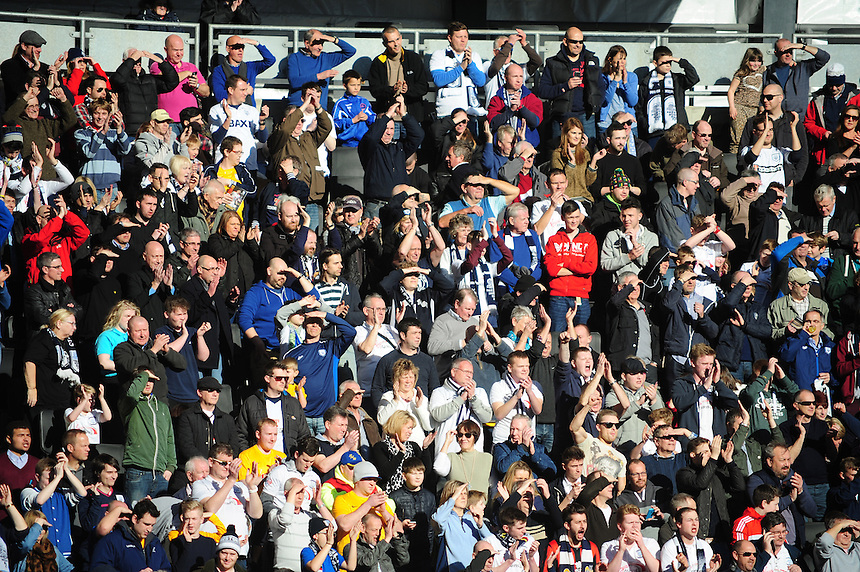 Preston North End fans at the start of the match<br /> <br /> Photographer Andrew Vaughan/CameraSport<br /> <br /> Football - The Football League Sky Bet League One - Saturday 7th March 2015 - Milton Keynes Dons v Preston North End - Stadium:mk - Milton Keynes<br /> <br /> &copy; CameraSport - 43 Linden Ave. Countesthorpe. Leicester. England. LE8 5PG - Tel: +44 (0) 116 277 4147 - admin@camerasport.com - www.camerasport.com