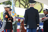 A Military Honor Guard prepares to fold the flag during ceremonies for the late United States Senator Daniel Inouye (Democrat of Hawaii) at the National Memorial Cemetery of the Pacific during ceremonies on Sunday, December 23, 2012.  Senator Inouye was a Medal of Honor recipient and a United States Senator since 1963.  .Credit: Cory Lum / Pool via CNP