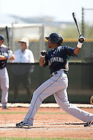 Greg Halman of the Seattle Mariners plays in a minor league spring training game against the Kansas City Royals at the Royals minor league complex on March 26, 2011  in Surprise, Arizona. .Photo by:  Bill Mitchell/Four Seam Images.