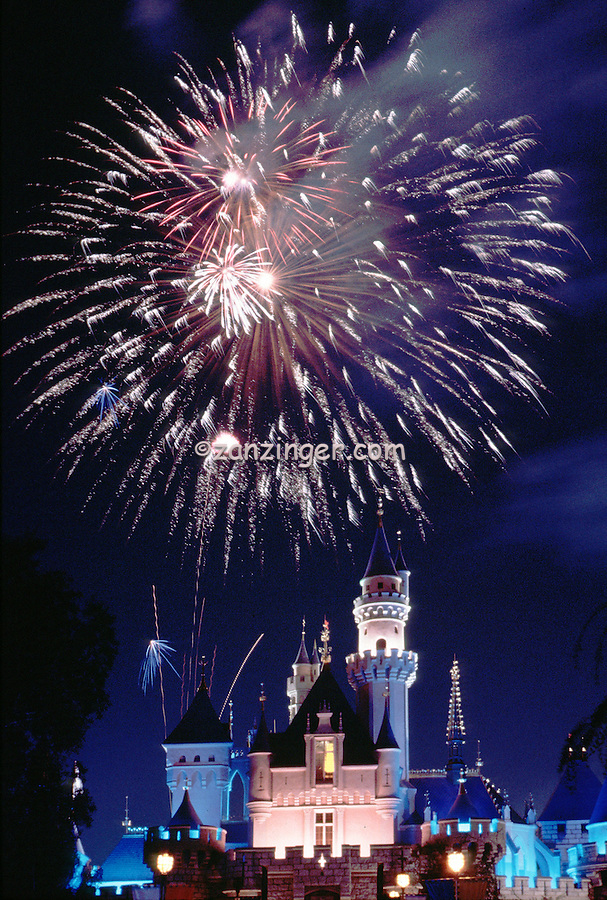 Firework Display, Cinderella Castle, iconic, fairy-tale fortress, Fantasyland,  Magic Kingdom, theme park, Disneyland,