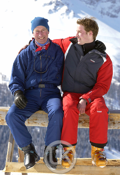 The Prince of Wales and Prince William skiing in Klosters, Switzerland..PIcture: UK Press