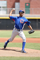 Angel Guzman of the Chicago Cubs plays in a minor league spring training game against the Los Angeles Angels at the Angels complex on April 2, 2011  in Tempe, Arizona. .Photo by:  Bill Mitchell/Four Seam Images.