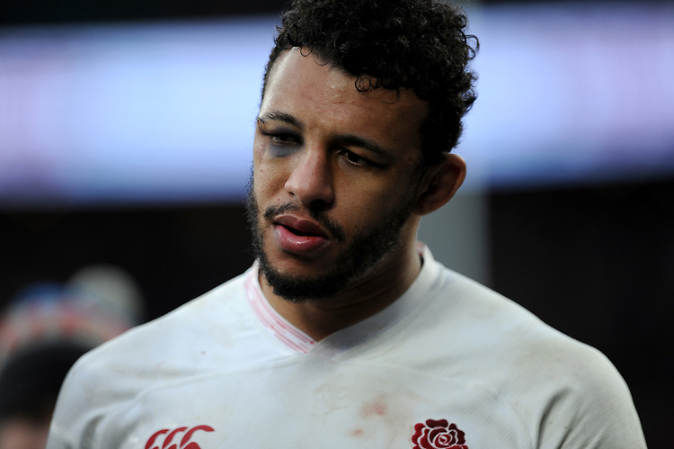 Courtney Lawes of England sports a black eye during the Guinness Six Nations match between England and Ireland at Twickenham Stadium on Sunday 23rd February 2020 (Photo by Rob Munro/Stewart Communications)