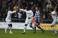 Pictured: Jason Scotland of Swansea (C) celebrating his second goal against Doncaster with team mate Nathan Dyer (L)<br /> Re: Coca Cola Championship, Swansea City FC v Doncaster Rovers at the Liberty Stadium. Swansea, south Wales, Saturday 21 February 2009<br /> Picture by D Legakis Photography / Athena Picture Agency, Swansea 07815441513