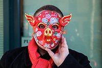 Person wearing Red Year of the Pig Mask, Chinese Lunar New Year Celebration, Chinatown, Seattle, WA.