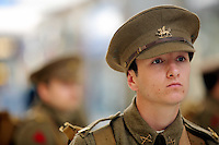 Men in World War I gear in the Qudrant shopping centre, Swansea, south Wales UK. Friday 01 July 2016