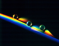 SPECTRA REFRACTED BY TRANSPARENT SPHERE<br /> The various wavelengths of visible light, a small part of the electromagnetic spectrum, are separated because the refractive index of the prism substance varies for the different wavelengths.