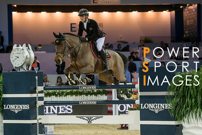 Olivier Philippaerts of Belgium riding H&M Challenge vd Begijnakker Z during the Hong Kong Jockey Club Trophy competition, part of the Longines Masters of Hong Kong on 10 February 2017 at the Asia World Expo in Hong Kong, China. Photo by Marcio Rodrigo Machado / Power Sport Images