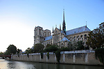 Notre Dame cathedral with River Seine in foreground from Left Bank. city of Paris. Paris. France