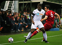 Pictured: Tyler Reid of Swansea (L). Friday 11 August 2017<br /> Re: Premier League 2, Division 1, Swansea City U23 v Liverpool U23 at the Landore Training Ground, Swansea, UK