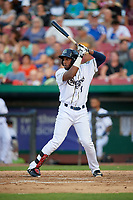 Kane County Cougars designated hitter Luis Lara (8) at bat during a game against the West Michigan Whitecaps on July 19, 2018 at Northwestern Medicine Field in Geneva, Illinois.  Kane County defeated West Michigan 8-5.  (Mike Janes/Four Seam Images)