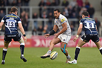 Robbie Fruean of Bath Rugby puts in a grubber kick. Aviva Premiership match, between Sale Sharks and Bath Rugby on May 6, 2017 at the AJ Bell Stadium in Manchester, England. Photo by: Patrick Khachfe / Onside Images