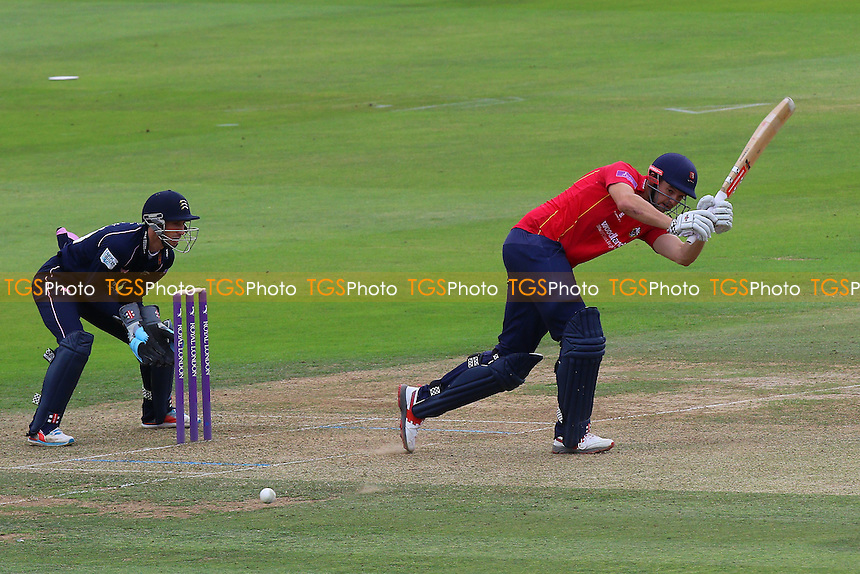 Nick Browne in batting action for Essex as John Simpson looks on from behind the stumps during Middlesex vs Essex Eagles, Royal London One-Day Cup Cricket at Lord's Cricket Ground on 31st July 2016