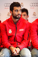 Real Madrid player Raul Albiol participates and receives new Audi during the presentation of Real Madrid's new cars made by Audi at the Jarama racetrack on November 8, 2012 in Madrid, Spain.(ALTERPHOTOS/Harry S. Stamper) .<br />