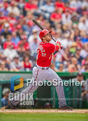 9 June 2013: Washington Nationals utilityman Stephen Lombardozzi in action against the Minnesota Twins at Nationals Park in Washington, DC. The Nationals shut out the Twins 7-0 in the first game of their day/night double-header. Mandatory Credit: Ed Wolfstein Photo *** RAW (NEF) Image File Available ***