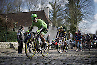 Wouter Wippert (NLD/Cannondale) leading up the cobbles of the Oude Kruisberg<br /> <br /> E3 - Harelbeke 2016