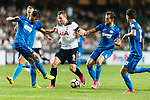 Tottenham Hotspur Forward Vincent Janssen (C) fights for the ball with SC Kitchee Defender Helio de Souza (L) during the Friendly match between Kitchee SC and Tottenham Hotspur FC at Hong Kong Stadium on May 26, 2017 in So Kon Po, Hong Kong. Photo by Man yuen Li  / Power Sport Images