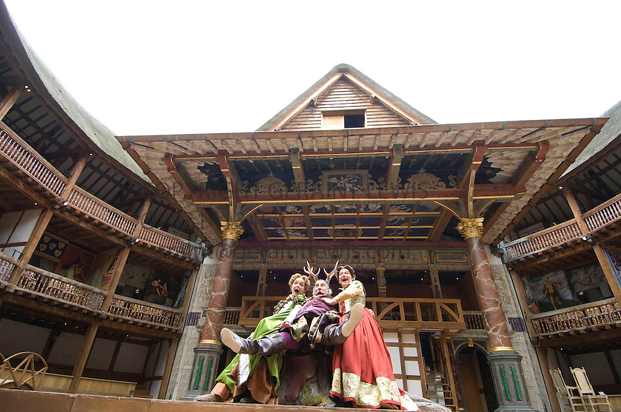 The Merry Wives of Windsor by William Shakespeare,directed by Christopher Luscombe With Christopher Benjamin as Falstaff,Serena Evans as Mistress Page[blonde],Sarah Woodward as Mistress Ford[dark hair] .Opens at Shakespeare's Globe Theatre on 18/6/08. CREDIT Geraint Lewis