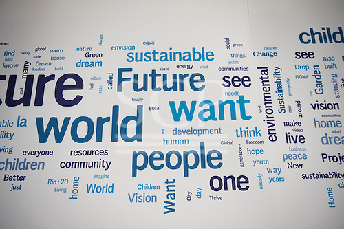 "The walls of the Rio Centre venue carry panels of words linked to the theme of the conference, ""The Future We Want"". United Nations Conference on Sustainable Development (Rio+20), Rio de Janeiro, Brazil. Photo © Sue Cunningham."