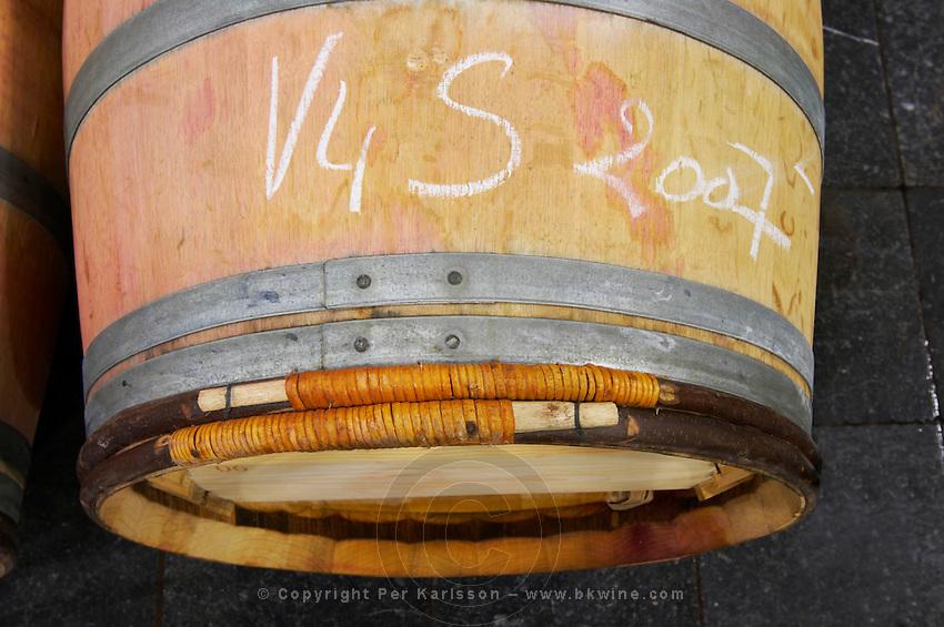 barrel with chalk writing clos des quatre vents margaux medoc bordeaux france