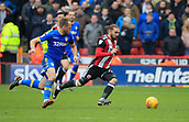 10th February 2018, Bramall Lane, Sheffield, England; EFL Championship football, Sheffield United versus Leeds United; Ricky Holmes of Sheffield United tries to run past Laurens De Bock of Leeds United