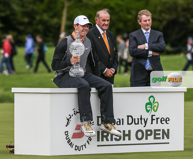 Rory McIlroy (NIR) sits casually for the world's media with the crystalware for winning Round Four of the 2016 Dubai Duty Free Irish Open Hosted by The Rory Foundation which is played at the K Club Golf Resort, Straffan, Co. Kildare, Ireland. 22/05/2016. Picture Golffile | David Lloyd.<br /> <br /> All photo usage must display a mandatory copyright credit as: &copy; Golffile | David Lloyd.