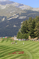 The 7th hole during Saturday's Round 3 of the 2018 Omega European Masters, held at the Golf Club Crans-Sur-Sierre, Crans Montana, Switzerland. 8th September 2018.<br /> Picture: Eoin Clarke | Golffile<br /> <br /> <br /> All photos usage must carry mandatory copyright credit (&copy; Golffile | Eoin Clarke)