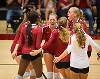 STANFORD, CA - September 9, 2018: Tami Alade, Jenna Gray, Meghan McClure, Morgan Hentz, Kathryn Plummer at Maples Pavilion. The Stanford Cardinal defeated #1 ranked Minnesota 3-1 in the Big Ten / PAC-12 Challenge.