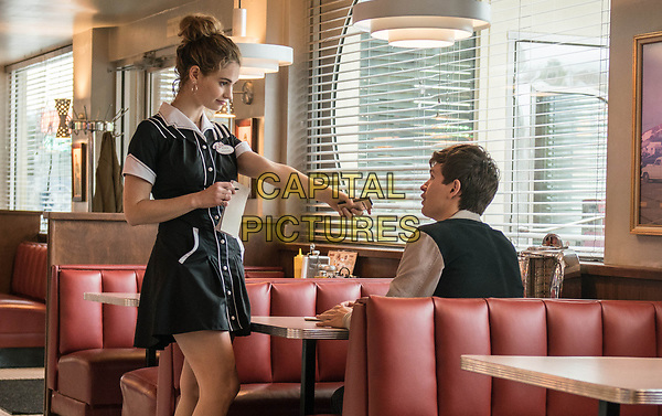 Baby Driver (2017) <br /> Baby (ANSEL ELGORT) charms  Debora (LILY JAMES) at her work<br /> *Filmstill - Editorial Use Only*<br /> FSN-K<br /> Image supplied by FilmStills.net