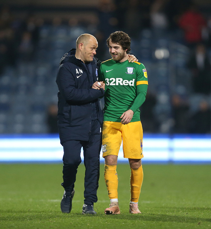 Preston North End manager Alex Neil celebrates with Ben Pearson at the end of the game<br /> <br /> Photographer Rob Newell/CameraSport<br /> <br /> The EFL Sky Bet Championship - Queens Park Rangers v Preston North End - Saturday 19 January 2019 - Loftus Road - London<br /> <br /> World Copyright © 2019 CameraSport. All rights reserved. 43 Linden Ave. Countesthorpe. Leicester. England. LE8 5PG - Tel: +44 (0) 116 277 4147 - admin@camerasport.com - www.camerasport.com