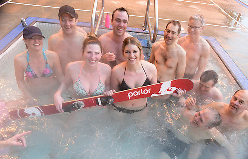Danielle Matte (center, print suit) Emilie Lavoie (right, dark suit) and David Darling  behind two<br /> women.  Revelstoke Pool, Sutton Place Hotel<br /> <br /> Others in photos are colleagues at Makami engineering, Sudbury Ontario,  Danielle can get their permission if needed.